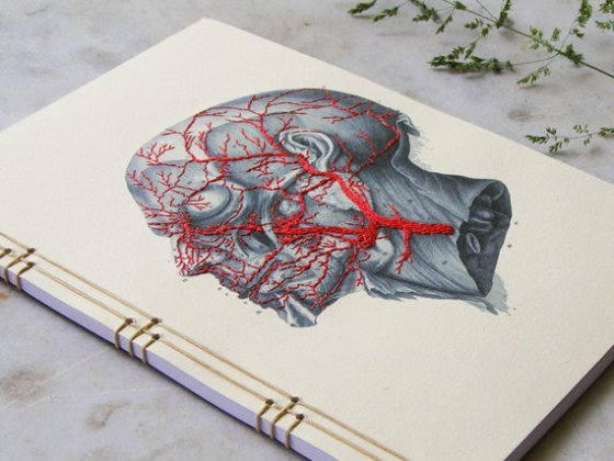 'Anatomy Journal Embroidered A5 Notebook', $50 by Fabulous Cat Papers
