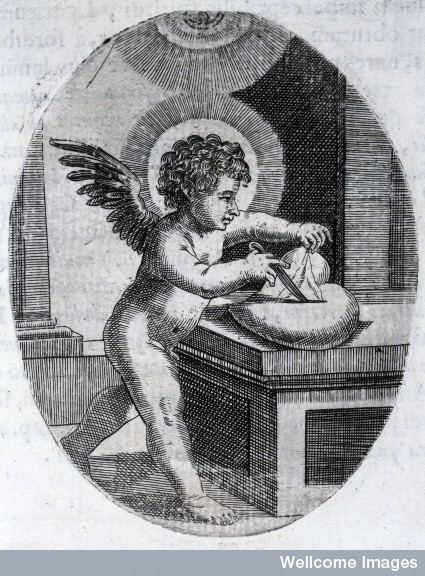 L0029157 Francesco Pona, Cardiomorphoses sive ex corde... Credit: Wellcome Library, London. Wellcome Images images@wellcome.ac.uk http://wellcomeimages.org Cupid dissecting a heart. Scrutator es tu. Cardiomorphoseos sive ex corde desumpta emblemata sacra Francesco Pona Published: 1665 Copyrighted work available under Creative Commons Attribution only licence CC BY 4.0 http://creativecommons.org/licenses/by/4.0/
